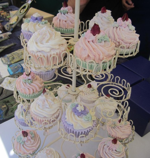 Cup cakes on a stand soaps