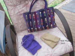 Knitting bag and fingerless mitts