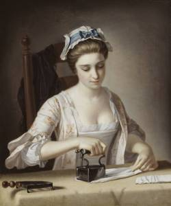 A Laundry Maid Ironing circa 1765-82 by Henry Robert Morland 1716-1797