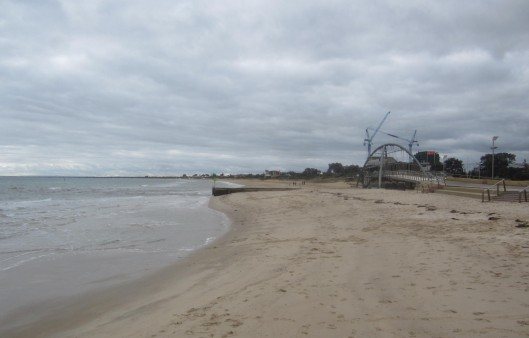 Empty beach on a cold day Frankston