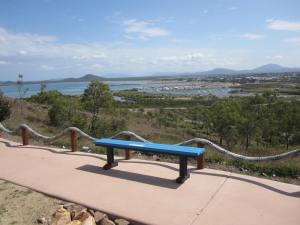 Recycled bench plus view of Bowen